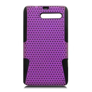 Eagle Cell PHMOTXT907NTBKPL Progressive Hybrid Protective Gummy TPU Mesh Defense Case for Motorola Droid RAZR M XT907   Retail Packaging   Black/Purple Cell Phones & Accessories