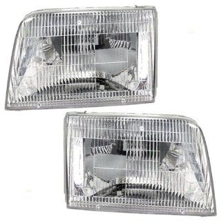 New Pair Set Headlight Headlamp Lens Housing Assembly SAE DOT Automotive
