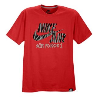 Nike Air Force 1 Safari Pattern T Shirt   Mens   Casual   Clothing   University Red/Wolf Grey
