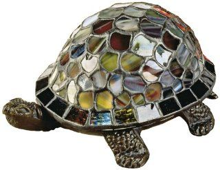 Dale Tiffany 7908/816A Blue Turtle Accent Lamp, Antique Bronze and Art Glass Shade   Table Lamps