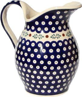 "Polish Pottery Pitcher 1.8 Qt. From Zaklady Ceramiczne Boleslawiec #1160 242 Classic Pattern, Height 7.9"" Capacity 1.8 Qt. Kitchen & Dining"