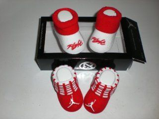 Nike Air Jordan Newborn Infant Baby Booties White and Red W/classic Jordan Air Jumpman and Flight Logo Size 0 6 Months Shoes