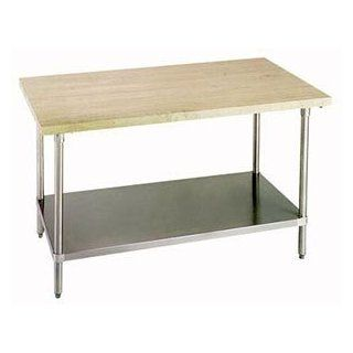 "Advance Tabco H2S 243 36"" Work Table   1 3/4"" Wood Top, Stainless Shelf, 24"" W, Each  Utility Tables"