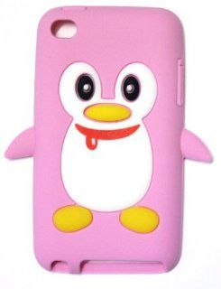 [IT4 SP] Apple iPod Touch 4th Generation Penguin Silicone Case (BABY PINK WITH CUTE SCARF) + Free Screen Protector + Free WirelessGeeks247 Detachable Neck Strap / Lanyard