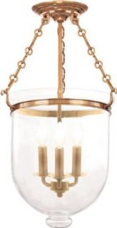 Hudson Valley Lighting 253 AGB C1 Three Light Semi Flush Ceiling Fixture from the Hampton Collection, Aged Brass   Semi Flush Mount Ceiling Light Fixtures