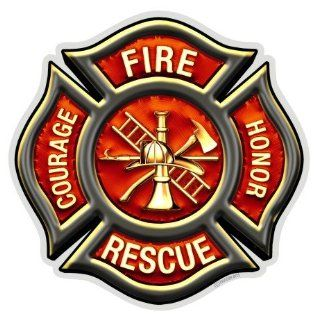 Fire Rescue Courage Honor Maltese Cross Decal   6 in.