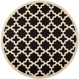 Safavieh CY6913 266 Courtyard Collection Indoor/Outdoor Round Area Rug, 7 Feet 10 Inch in Diameter, Black and Beige