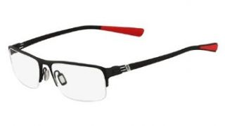 NIKE Eyeglasses 8107 007 Black Chrome Red 53MM Clothing