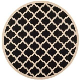 Safavieh CY6903 266 Courtyard Collection Indoor/Outdoor Round Area Rug, 7 Feet 10 Inch in Diameter, Black and Beige