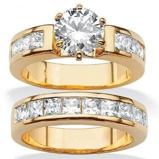 Royal Palm Jewelry 5017910 4.40 TCW Round Cubic Zirconia 14k Yellow Gold Plated Bridal Engagement Ring Wedding Band Set   Size 10 Royal Palm Jewelry Jewelry