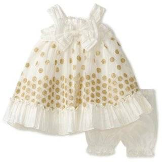 Nannette Baby girls Infant Taffeta Dress with Embroidery Overlay Clothing