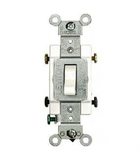 Leviton CS215 2W 15 Amp, 120/277 Volt, Toggle Double Pole AC Quiet Switch, Commercial Grade, Grounding, White