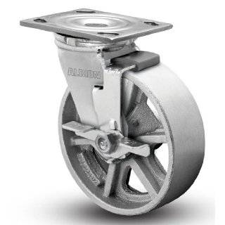 "Albion 16 Series 4"" Diameter Cast Iron Wheel Medium Heavy Duty Zinc Plate Swivel Caster with Face Brake, Roller Bearing, 4 1/2"" Length X 4"" Width Plate, 1000 lbs Capacity (Pack of 4)"