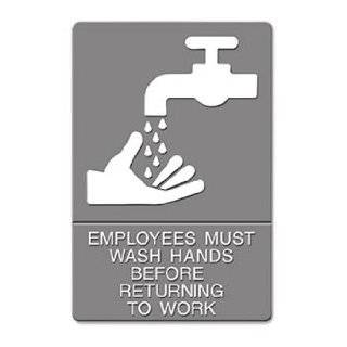 "ADA Sign, ""Employees Must Wash Hands"" Tactile Symbol/Braille, 6 x 9, Gray   Wall Pediments"