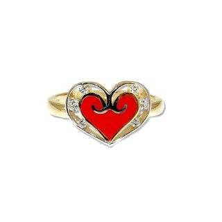 14k Yellow Gold, Heart Design Red Enamel Ring with Brilliant Lab Created Gems Jewelry