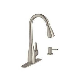 Moen 87599SRS Single Handle Pull Down Kitchen Faucet with Metal Lever Handle and Soap / Lotion, Spot Resist Stainless   Touch On Kitchen Sink Faucets