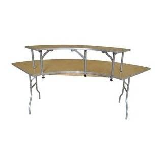 Folding Table   Ten Foot Heavy Duty Serpentine Wood Bar Top Riser with Aluminum Edge   Wooden Folding Table Legs