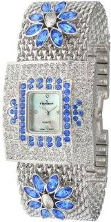 Peugeot Women's J5135BL Silver Tone Swarovski Crystal Blue Flower Mesh Bracelet Watch Watches