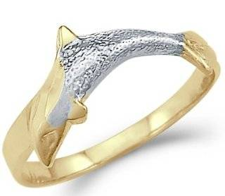 14k Yellow and White Gold Two Tone Dolphin Fish Ring Band Jewelry