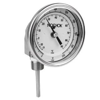 NOSHOK 300 Series Instrument Type Dual Scale Bi Metal Thermometer with Adjustable Angle Mount