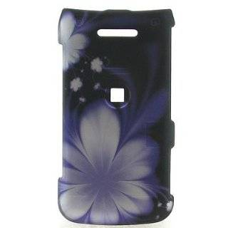 Crystal Hard rubberized BLACK with PURPLE Flowers Design Cover Case for LG WINE 2 UN430 + Swivel Belt Clip [WCS823] Cell Phones & Accessories