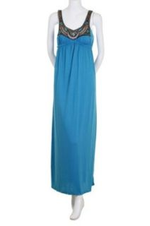 Bailey Blue Beaded Sequins Embellished Soft Jersey Cinched Empire Waist Sleeveless Tank Long Maxi Dress Turquoise Large
