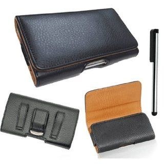 For Apple iPhone 4S & 4 Horizontal Black Soft Leather Case Carrying Pouch Belt Clip Holster BW Fits LifeProof Case On It+Stylus Pen (By All_Instore) Cell Phones & Accessories