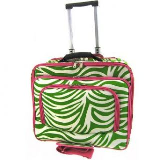 Rolling Zebra Print Laptop Travel Case Briefcase Bag Hot Pink Lime Green Shoes