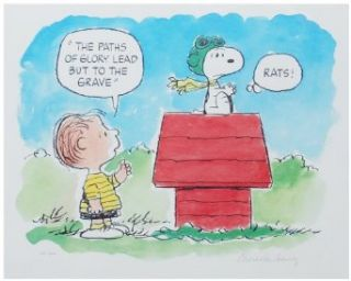 Original Charles Schulz Signed Peanuts Lithograph, Flying Ace Collectibles & Fine Art