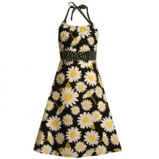 Size 20.5,BNJ 9531M BLACK WHITE YELLOW DAISY FLOWER PRINT HALTER Easter Spring Summer Girl Party Dress,M89531 Bonnie Jean Girl PLUS SIZE Clothing