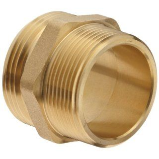 Moon 358 1561521 Cast Brass Fire Hose Hydrant Adapter, Hex Nipple, 1 1/2 NST Male x 1 1/2 NPT Male