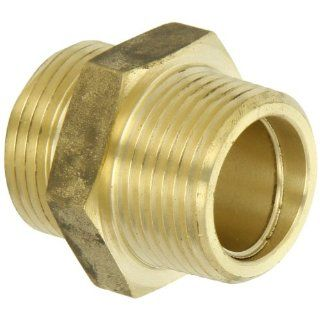 "Moon 358 1061011 Brass Fire Hose Adapter, Nipple, 1"" NPT Male x 1"" NPSH Male"