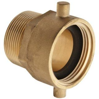 "Moon 363 1521561 Brass Fire Hose Adapter, Pin Lug Swivel, 1 1/2"" NH Swivel Female x 1 1/2"" NPT Male Fire Hose Fittings"