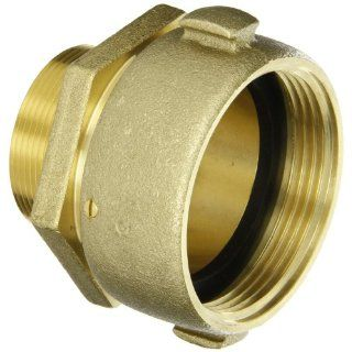"Moon 363 25220621 Brass Fire Hose Adapter RL, Swivel, 2 1/2"" NH Swivel Female x 2"" NPT RL Male"