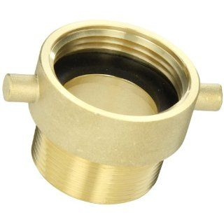 "Moon 369 1521561 Brass Fire Hose Adapter, Pin Lug, 1 1/2"" NH Female x 1 1/2"" NPT Male"