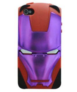 FJX Cool Holder Stand 2 in 1 Iron Man Hybrid High Impact Case for iPhone4/4G/4S(Red Silicone And purple) Cell Phones & Accessories