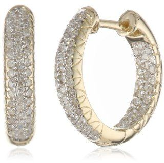 10k White Gold Inside Out Pave Diamond Hoop Earrings (3/4 cttw, H I Color, I3 Clarity) Jewelry