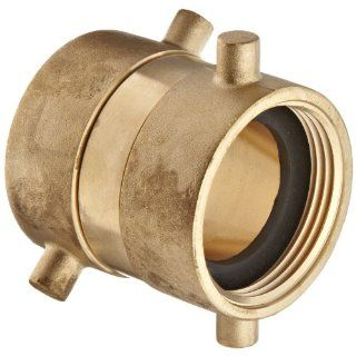 "Moon 379 1521521 Brass Fire Hose Adapter, Swivel, 1 1/2"" NH Female x 1 1/2"" NH Female"
