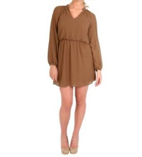 Honey Punch V Neck Long Sleeve Dress in Sand, Small Clothing