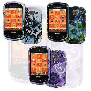 Blue Purple 3 Pack Flower Star Butterfly Hard Case Cover for Samsung Brightside SCH U380 Cell Phones & Accessories