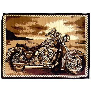 DonnieAnn African Adventure 5 Feet by 7 Feet MotorCycle Area Rug, Brown