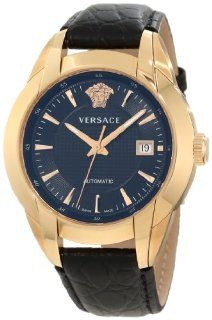Versace Men's 25A380D008 S009 Character Automatic Rose Gold PVD Black Dial Leather Strap Watch Watches