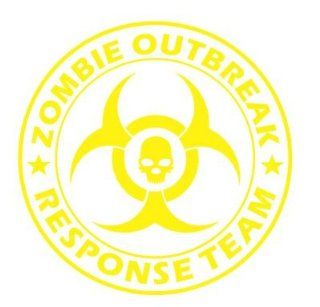 LARGE Zombie Outbreak Response Team with SKULL Vinyl Decal Sticker Wall Art Graphic (Yellow)   Wall Decor Stickers