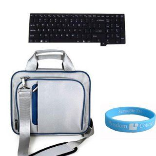 Dell Inspiron N4030,M4010R,N4010,N4020, Dell Studio 1450,1457,1458 14 inch Laptop Silver Blue Kroo Carrying Case with Shoulder Strap and Handle + Black Silicone Keyboard Skin Cover + SumacLife TM Wisdom*Courage Wristband Computers & Accessories