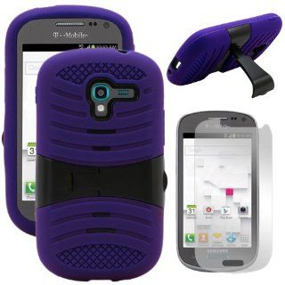 MINITURTLE Premium Durable Rugged Shell Hybrid Protective Phone Case Cover with Built in Kickstand and Clear Screen Protector Film for Samsung Galaxy Exhibit SGH T599 /T Mobile /MetroPCS (Purple / Black) Cell Phones & Accessories