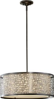 Murray Feiss F2638/3LAB Joplin Collection 3 Light Pendant, Light Antique Bronze Finish with Bronze Fabric Shade and Glass Diffuser