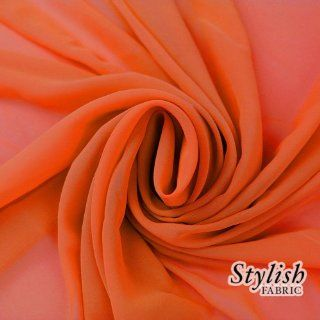 "58"" ORANGE Solid Color Sheer Chiffon Fabric by the Bolt   100 Yards (WHOLESALE PRICE)"