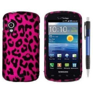 Pink Black Leopard Design Protector Hard Case Cover for Samsung SCH i405 Stratosphere 4G LTE Android Smartphone (Verizon) + Bonus 1 of New Rubber Grip Translucent Ball Point Pen Cell Phones & Accessories
