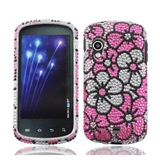 Samsung Stratosphere i405 i 405 / Specifications Cell Phone Full Crystals Diamonds Bling Protective Case Cover Silver and Pink Floral Flowers Design Cell Phones & Accessories