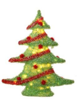 "24"" Christmas Brites Lighted Iced Glitter Green Table Top Tree Decoration   Artificial Christmas Trees"